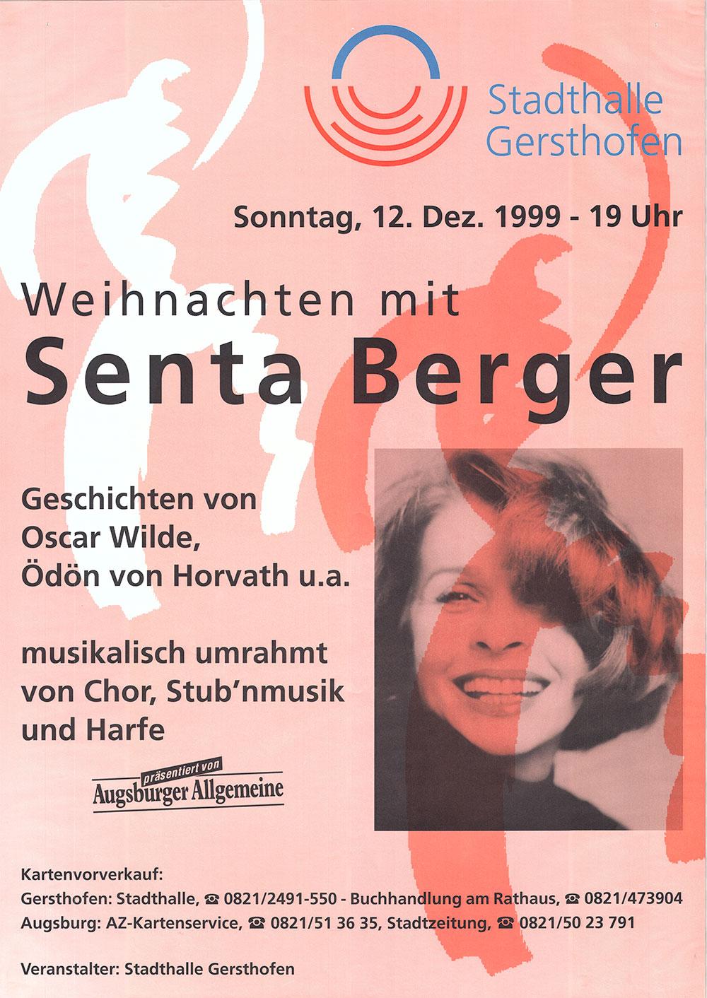 Senta Berger stand- quasi als Vorweihnachtsgeschenk - am 12. Dezember 1999