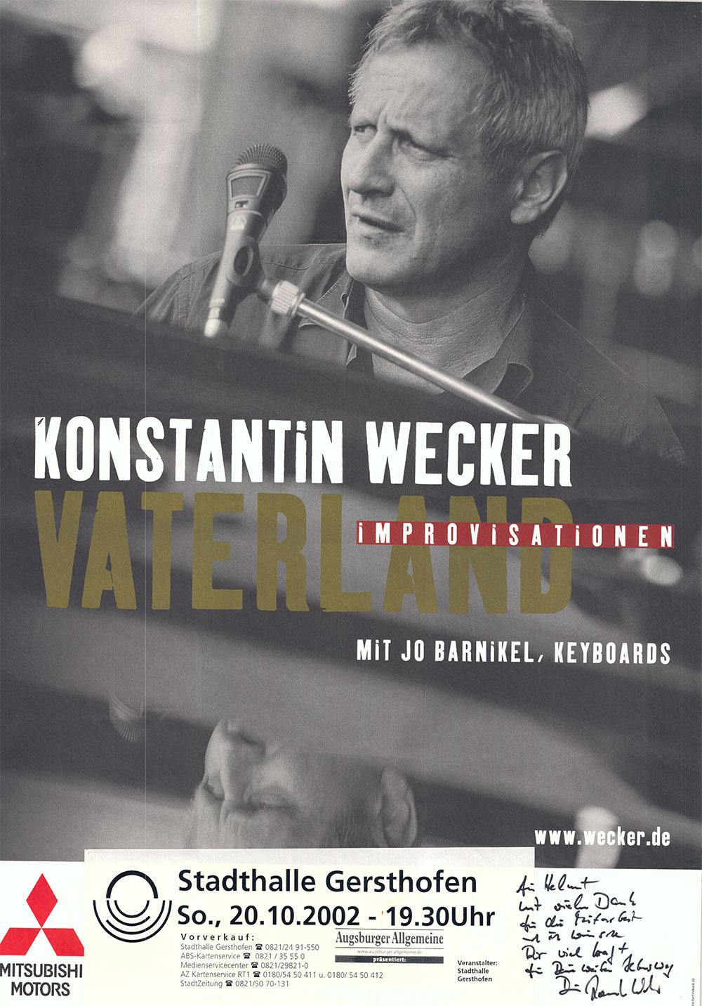 Eines der Plakate der vielen Gastspiele von Konstantin Wecker